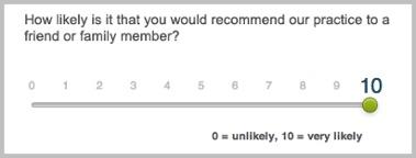 Net promoter score rating