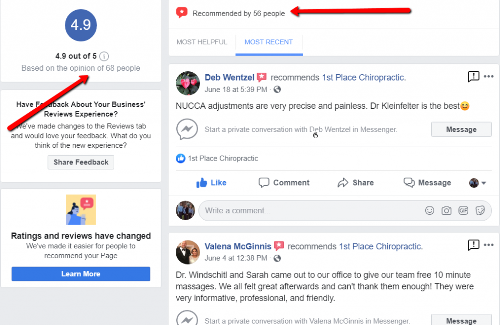 facebook reviews and recommendations